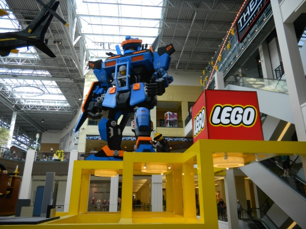 One Lego creation towering over the store's entrance.
