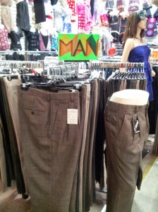 One store has a men's section. Look for the sign!