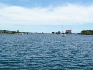 Grand Marais as viewed from the harbor.